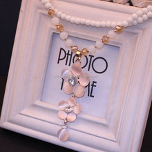 XLK-053 YiWu Caddy 2015 New styles high-grade Korea fashion fair opal jewelry necklace exaggerated double flowers necklace