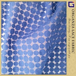 Elegant royal blue tulle embroidered guipure lace fabric