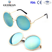YWGX FDA CE UV400 Certification Oversized Big Retro Circle vintage round sunglasses for women