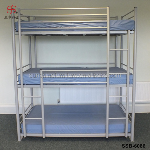 Cheap military home hotel school heavy duty metal 3 tier for Cheap bunk beds uk