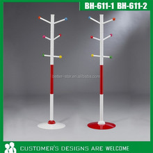 Red metal powder coated wire clothes hanger stand