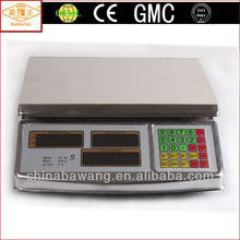 CE OIML LED Flat Pan Steel Shell Digital Counter Weighing and Price Computing Scale for 15kg 30kg 40kg ACS-208-25J-B-FP