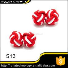 Red White 100% Handmade Silk Knot Cufflink Knot