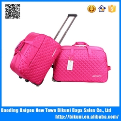 High quality waterproof oxford/nylon large capacity zipper diamond-shaped travel wheel duffle bag for unisex