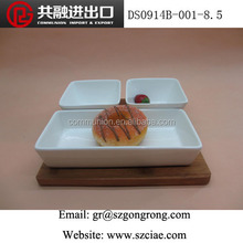 """2 pcs 4 """"square bowl and rectangular plate with bamboo board"""