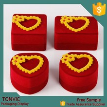 China Unique high quality red velvet ring jewelry box as gift box wedding manufacturer