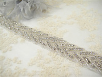 Gorgeous Rhinestone Bridal Dress Motif Bling Bridal Applique Chain Iron on Crystal Wedding Accessories