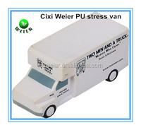 11.5x4.5x5.1cm promotional gift PU van shaped stress ball/personalized PU material van/soft toy PU anti stress ball van shape