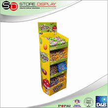 Best seller cardboard stands food display stand, folding candy display stand, supermarket floor display for m&m chocolate