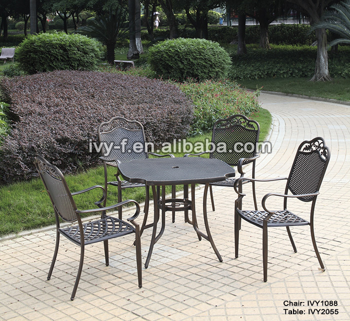 restaurant terrace dining chair cast aluminum chair  bronze