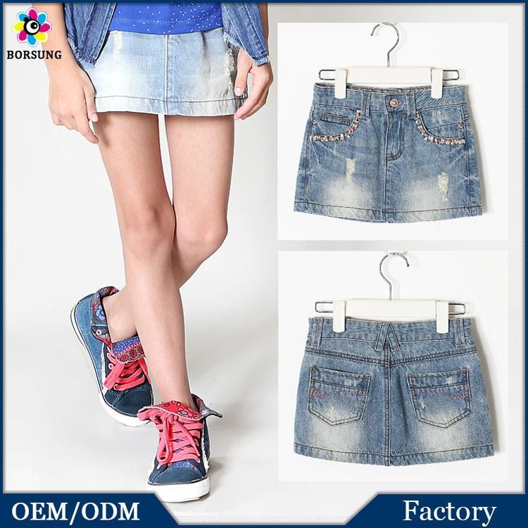 Children Cotton Frock Dress Designs Beaded Fashion Kids Girls Super Mini Denim Skirts