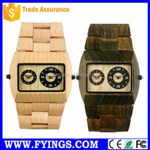 Japan movt watch 2035 wooden wrist watch 3atm water resistant stainless steel watch case back