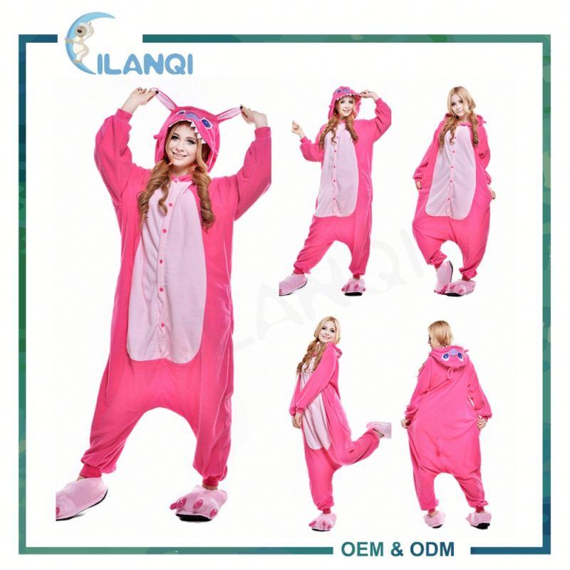 ALQ-A020 Soft anime rosa stich kostüm unisex onesie pyjamas adult