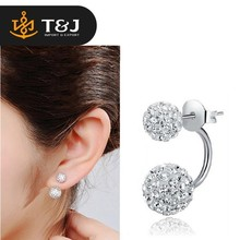Customize summer concise delicate women stud earring engagement wedding bridal rhinestone charm silver earring double ball