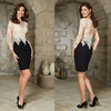 New Arrival Elegant Embroidery Lace Black Long Sleeve 2015 Cocktail Dresses