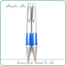 Cheap whole silver body small hole plastic pen