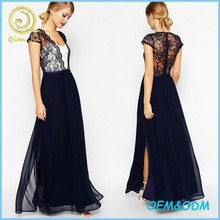 Women Party Wear Scalloped Lace Maxi Evening Dress