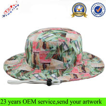 Wide Brim Bucket Hat Fashion Cool Digital printing Fishing Custom Bucket Hat With String