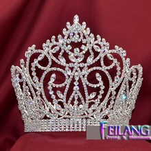 Large Luxury Rhinestone Full Crown Pageant Tiara Bridal Wedding Show