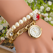 Sailing wind ladies pearl bracelet watch,ship anchor pendant watches