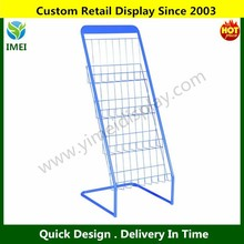 POP Blue Powder Coated Folding Display Metal Book Stand
