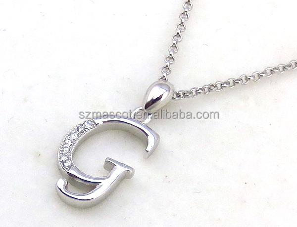 Letra s diamante colgante del encanto, 925 silver joyería pendiente del encanto