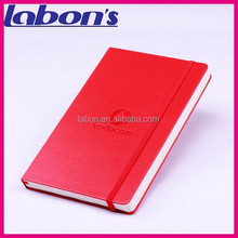 office supplies pocket notebook with pocket with logo embossed and elastic strap