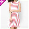 2015 latest non-sleeves elegant fashion design Red Printed Dress