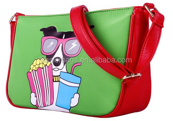 Italienne en cuir sacs à bandoulière avec chien impression