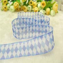 Newly design 1.5inch Heart transfer Print Organza Ribbon print Diamond square picture for grament
