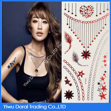2015 popular sheet flash tattoo necklace glitter for women metallic temporary tattoo sticker with high quality