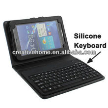 2 in 1 Bluetooth 3.0 Silicone Keyboard + Folding Leather Protective Case for Samsung Galaxy Tab P6200