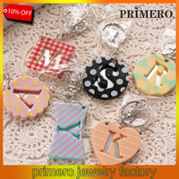 PRIMERO high quality private alphabet Customized acrylic colorful letter keychain key chain Women's metal key ring