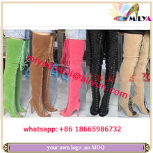 Miliya SEXY Lady Lace-Up Bandage Thigh High Boots Suede Leather Boots Top Qaultiy Real Pictures Many Colors For Ur Choice
