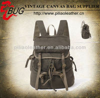2013 Newest Canvas backpack/Khaki school bag/cotton fabric rucksack satchel manufacture