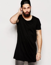 Super Longline black plain men T-Shirt With Scoop Neck And Relaxed Skater