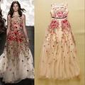 Melhor qualidade de moda de nova casamento vestido de festa 2015 primavera mulheres requintado bordado Floral vestido longo vestido da ocasião especial