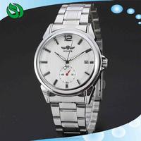 2015 new fashion steel men male clock winner brand stylish design classic mechanical self wind wrist dress skeleton watch gift