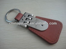 promo gifts for businessmen PU leather keychain holder with reflective metal