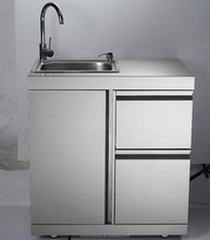 Stainless steel outdoor sink cabinet, with stainless steel sink