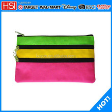 wholesale factory price polyester fabric 3 zipper 3 colors pencil bag