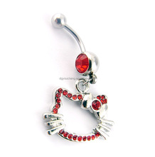 316LStainless Steel Cute Dangle Hello Kitty Belly Button Rings