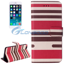 Top Quality Zebra Stripes Leather Universal Flip Phone Case For iPhone 6 4.7""