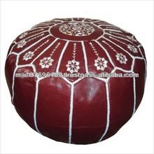 Round Modern Moroccan Genuine Leather Pouf Ottomans