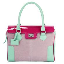 HD27-171 Three kind of material ladies tote bag, faux suede handabg, custom tote bag