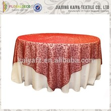 Polyester blending soft organza wedding table overlay patterned
