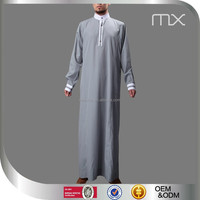 2015 New Design Mens Islamic Thobe Saudi Style Robe Arab Daffah Thobe