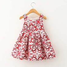 YD2224New Bohemian kids dress 2 color girl's sleeveless dress