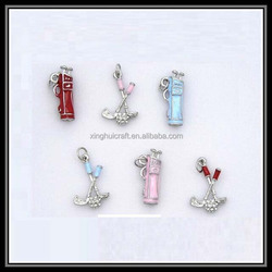 New Design Sport Theme Jewelry Golf Bag and Stick Charms