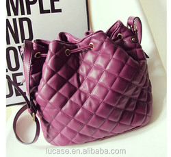 Hotsale drawstring metallic pu leather large shoulder bag for women